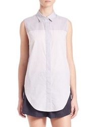 3.1 Phillip Lim Striped Sleeveless Button Down Top Purple