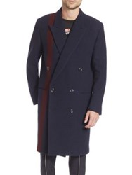 Paul Smith Houndstooth Patterned Double Breasted Overcoat Navy
