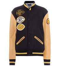 Polo Ralph Lauren Leather And Wool Varsity Jacket Blue