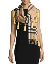 Burberry Cashmere Giant Check Tassel Scarf Camel