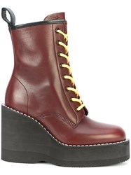 Sacai Chunky Wedge Heeled Boots Leather Rubber Red