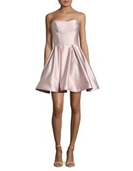 Betsy And Adam Strapless Satin Dress Beige