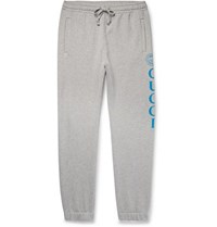 Gucci Tapered Logo Print Loopback Cotton Jersey Sweatpants Gray