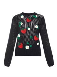 Muveil Strawberry And Flower Embroidered Sweater
