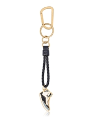 Salvatore Ferragamo Woven Leather Two Ring Key Holder Navy