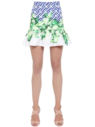 Isolda Printed Stretch Cotton Satin Skirt Green Blue