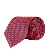 Turnbull And Asser Puppy Tooth Silk Tie Unisex Red