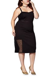 Mblm By Tess Holliday Plus Size Women's Lace And Ponte Shoulder Strap Sheath Dress
