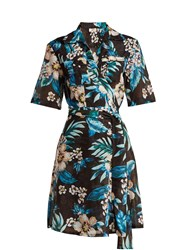 Diane Von Furstenberg Floral Print Cotton And Silk Blend Wrap Dress Black Print