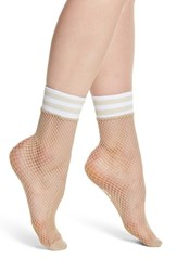 Treasure And Bond Varsity Stripe Fishnet Crew Socks Nude