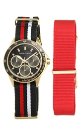 Vince Camuto Multifunction Watch And Interchangeable Nato Strap Set 36Mm Red Black
