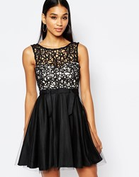 Lipsy Cutwork Lace Mini Prom Dress With Tulle Skirt Black