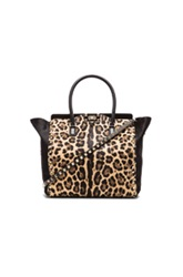 Valentino Rockstud Small Double Handle Bag In Brown Black Animal Print