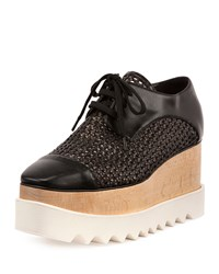 Stella Mccartney Elyse Woven Lace Up Platform Sneaker Black Black Black Straw