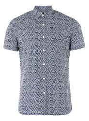 Topman Blue Floral Print Short Sleeve Casual Shirt