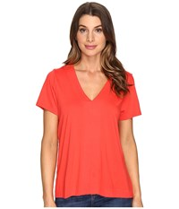 Lilla P Short Sleeve V Neck Poppy Women's Clothing Red