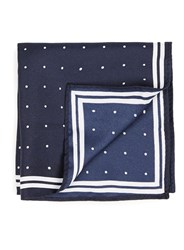 Topman Blue Navy And White Bordered Pocket Square