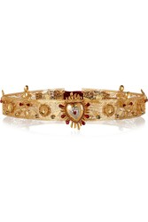 Dolce And Gabbana Sacro Cuore Swarovski Crystal Embellished Gold Plated Belt Metallic