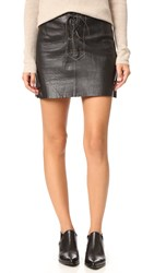Free People Join Hands Leather Skirt Black
