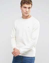 Farah Jumper With Textured Self Stripe In Slim Fit White White