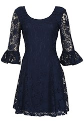 Izabel London Floral Lace Fit And Flare Dress Navy