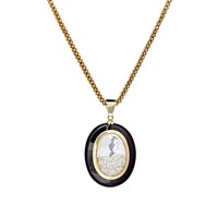 Renee Lewis Diamond Shake And Onyx Pendant Necklace