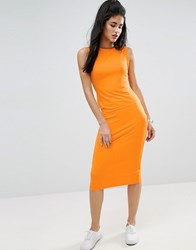 Asos Twist Detail Sleeveless Midi Tank Dress Orange