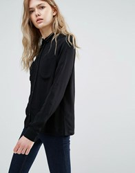 Vila Shirt With Contrast Buttons Black