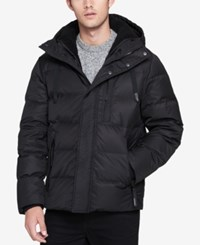 Andrew Marc New York Men's Groton Quilted Hooded Puffer Coat With Removable Faux Shearling Bib Black