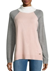 Calvin Klein Colorblocked Turtleneck Blush