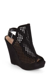 Chinese Laundry Magnolia Perforated Platform Wedge Sandal Black