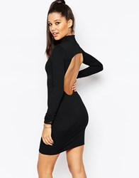 Missguided High Neck Bodycon Dress With Keyhole Back Black