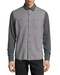 Howe Cloud Maze Button Down Knit Shirt Cast Iron