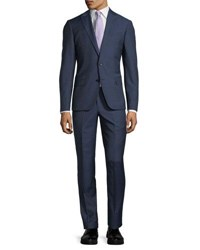 Neiman Marcus Slim Fit Micro Wool Two Piece Suit Blue Pattern