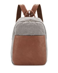Brunello Cucinelli Men's Leather And Wool Cashmere Tech Backpack Tan Gray Tan Grey