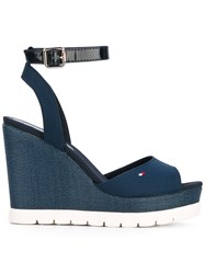 Tommy Hilfiger Wedged Sandals Women Tactel Rubber 37 Blue