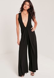 Missguided Crepe Origami Detail Jumpsuit Black Black