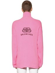 Balenciaga Logo Printed Cotton Turtleneck Pink