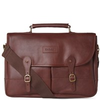 Barbour Leather Briefcase Brown