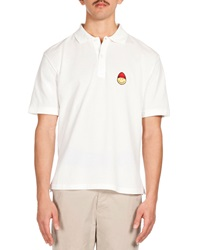 Ami Alexandre Mattiussi Ami Smiley Patch Short Sleeve Polo White