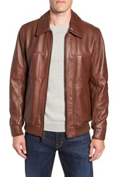 Andrew Marc New York Vaughn Shirt Collar Leather Bomber Jacket Cognac