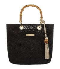 Heidi Klein Mini Savannah Bay Raffia Bag Black