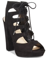 Bar Iii Nelly Lace Up Block Heel Pumps Only At Macy's Women's Shoes Black