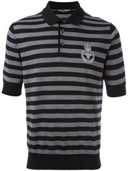 Dolce And Gabbana Embroidered Crown Bee Polo Shirt Black