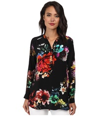 Amanda Uprichard Graham Shirt Night Flower Women's Long Sleeve Pullover Black