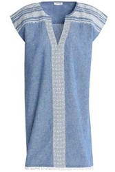 Soft Joie Embroidered Cotton And Linen Blend Chambray Mini Dress Light Denim