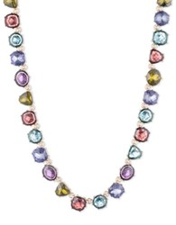 Anne Klein Multi Hue Faceted Stone Collar Necklace