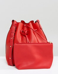 Amy Lynn Bucket Shoulder Bag With Pouch Red