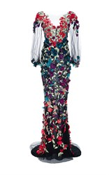 Marchesa Bell Sleeve Floral Embroidered Gown Black