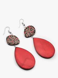 One Button Statement Oval Drop Earrings Red Multi